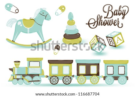 retro toy pony cubes and steam and children's pyramid, gentle tones blue brown scale