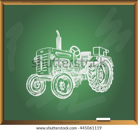 retro tractor on chalkboard background free hand drawn vector