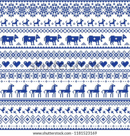 Retro traditional cross-stitch vector seamless pattern - repetitive background inspired Swiss old style embroidery with flowers and animals