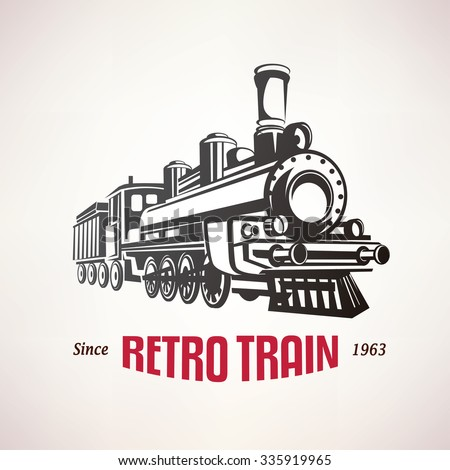 Shutterstock retro train, vintage  vector symbol, emblem, label template