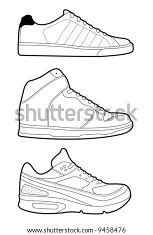 Retro trainers (sneakers). Vectored EPS file.