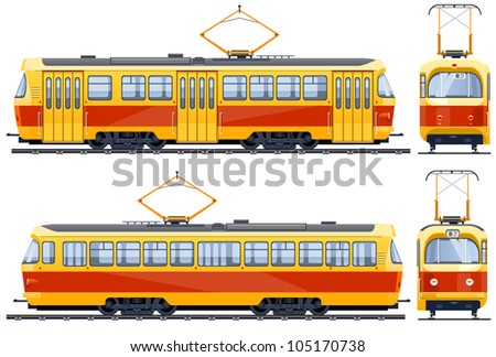 Retro Tram (1960th-1980th)  icons in vector, pixel optimized.