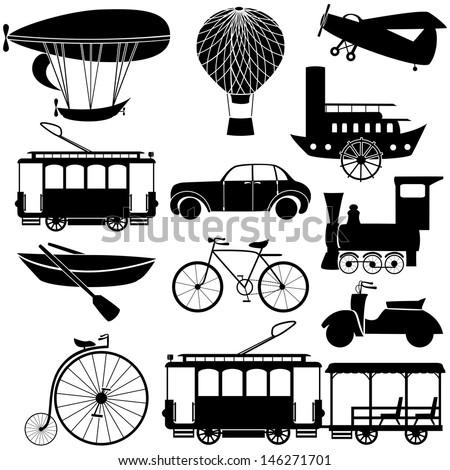 retro transport icons.
