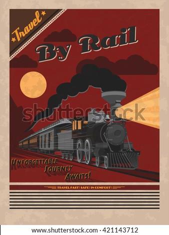 retro travel poster vector