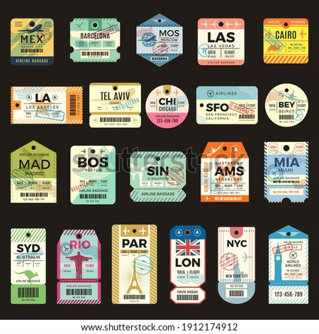 Retro travel tickets. Vintage tags for flight plane luggage ticket recent vector collection set