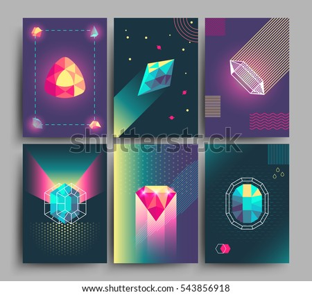 Retro trendy vector hipster posters, 3d card with crystals, abstract geometric shapes