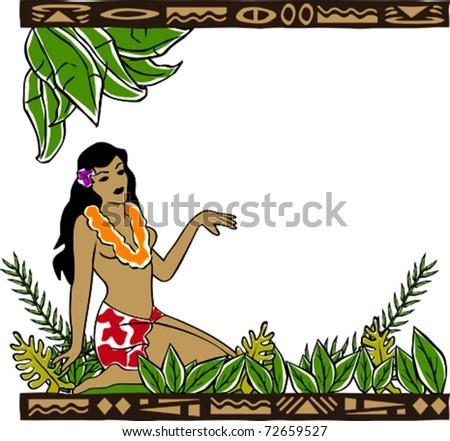 Retro Tropical Beautiful Hawaiian Hula Girl Resting in Garden Vector Illustration - stock vector