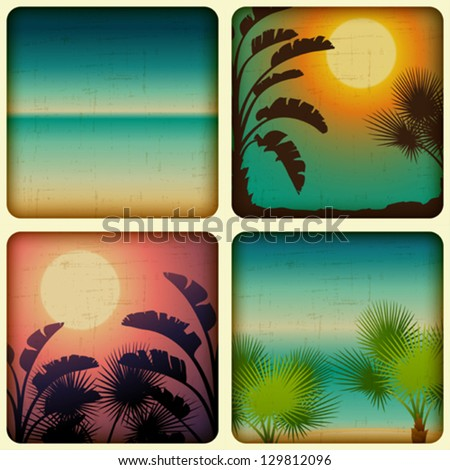 Retro tropical cards with seaside and palm trees.