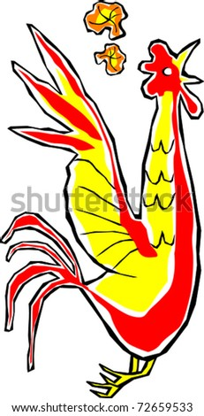 Retro Tropical Country Red Yellow Rooster Vector Illustration