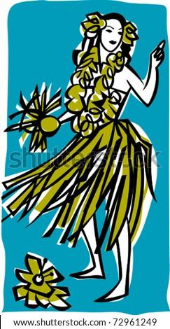 Retro Tropical Dancing Hula Girl Vector Illustration