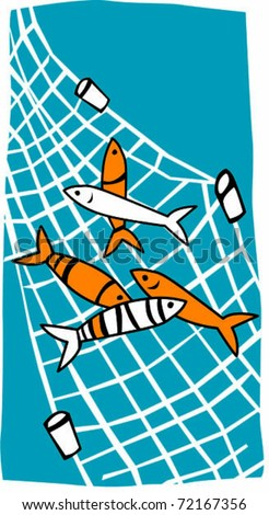 Retro Tropical Fish in Net Vector Illustration