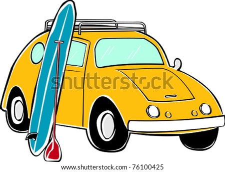 Retro Tropical Happy Hippie Compact Standup Paddle Board Surf Car Vector Illustration