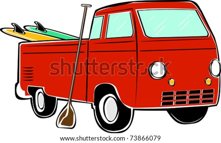 Retro Tropical Happy Hippie Standup Paddle Board Pickup Truck Vector Illustration