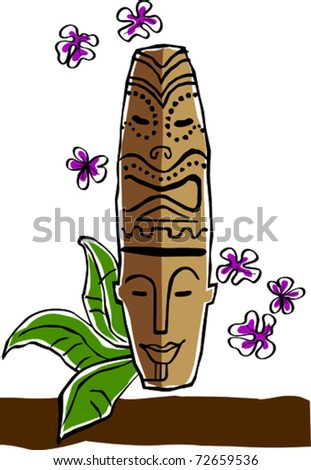 Retro Tropical Happy Tiki Mask Statue Vector Illustration