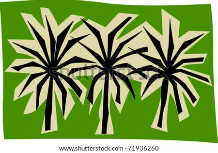 Retro Tropical Palm Trees Border Vector Illustration