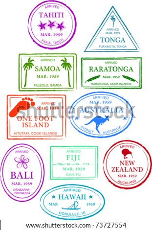 Retro Tropical Set of Fun Island Passport Stamps Vector Illustration