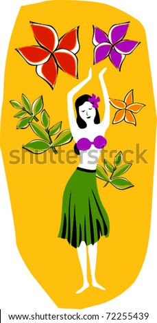 Retro Tropical Swaying Hula Girl & Flowers Vector Illustration