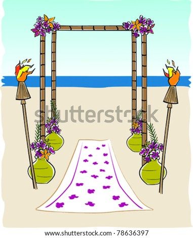 Retro Tropical Tiki Bamboo Wedding Arch Vector Illustration