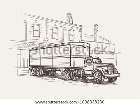 Old Truck Sketch - Download Free Vector Art, Stock Graphics & Images