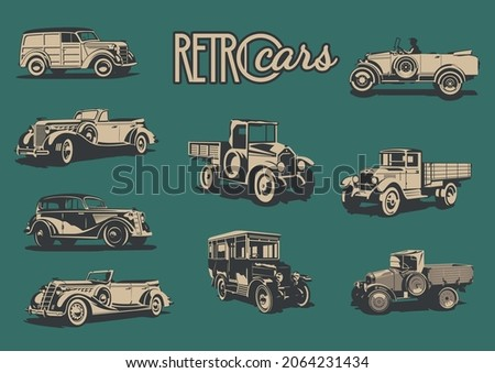 Retro Trucks, Cars and Passenger Bus from the 1910s, 1920s, 1930s