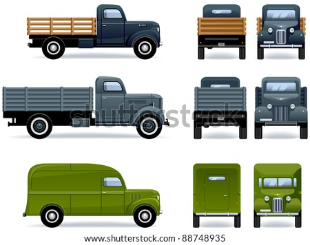 Retro trucks (1930-40th). Set of the car icons in vector. The shadows are in the separate layer.
