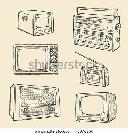 Retro TV and Radio Set