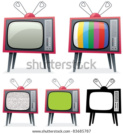 Retro TV: Cartoon illustration of a retro TV in 5 different versions. You can replace the green screen on the 4-th TV with your own picture. No transparency used. Basic (linear) gradients.