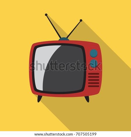 Retro TV Icon Flat Design Long Shadow