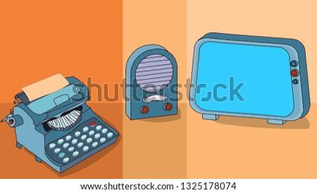 Retro tv, retro radio, retro typewriter. Vector vintage communication instruments. Pastel diffrent orange background. 2d  drawing illustration.