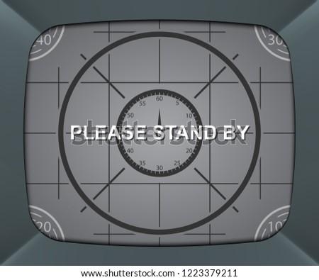 Retro tv screen, please stand by background, vector illustration Foto d'archivio ©