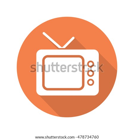 retro tv set flat design long