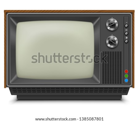 Retro TV-set Front View with Blank Screen Isolated on White Background. Vintage TV Receiver. Vector Illustration.