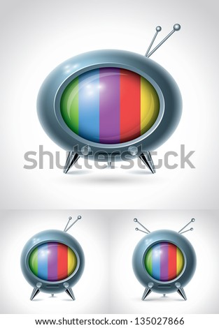 retro tv set vector character