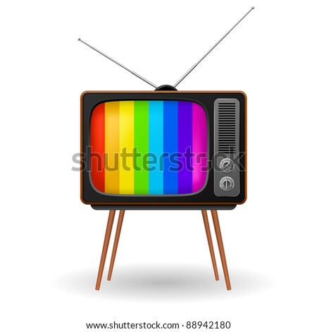 Retro TV with color frame. Illustration on white background