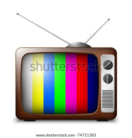 Retro TV with color frame, vector
