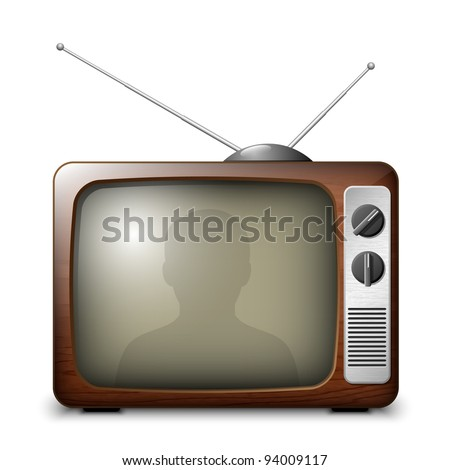 Retro TV with reflection of the viewer. EPS10
