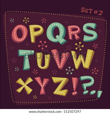 Retro type font Fifties style alphabet Vector illustration