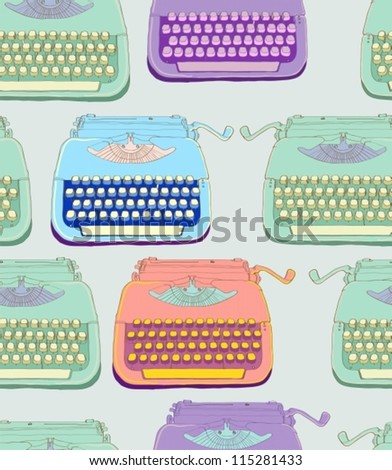 retro typewriter, vintage hand drawn background, seamless pattern, vector