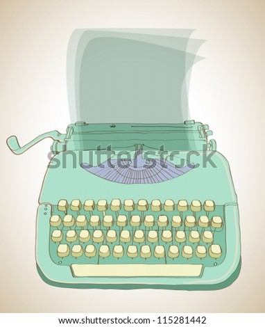 retro typewriter, vintage hand drawn background, vector