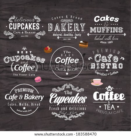Retro Typography Bakery and Cafe Logo Badge Design