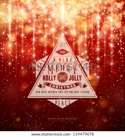 Retro Typography over red Christmas background. Vector Illustration. - stock vector