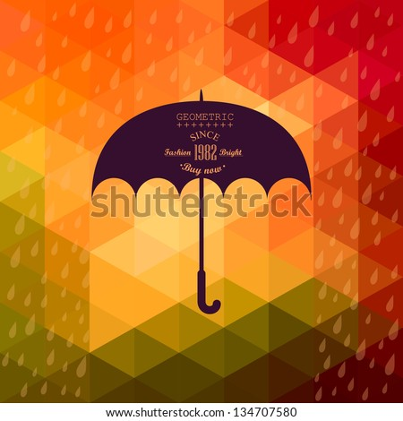 Retro umbrella symbol on hipster background made of triangles Retro background with rain pattern and geometric shapes.Label design. Square composition with geometric shapes, color flow effect.