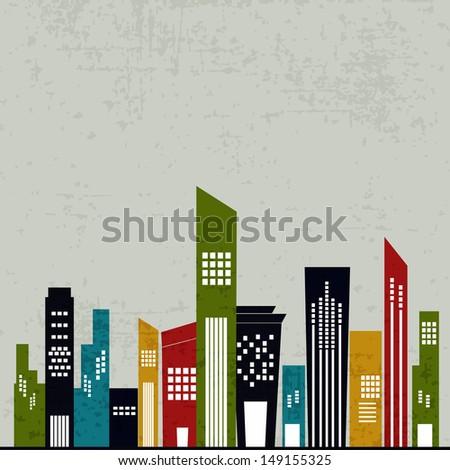 Retro urban city background.