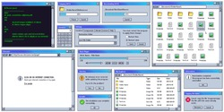 Retro user interface. Retro UI copying, downloading box. Warning message window. Old internet browser, terminal and music player vector set. vintage computer software control screen panels and dialogs