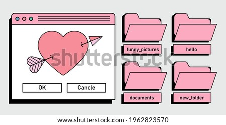 Retro user interface with window box and folders.