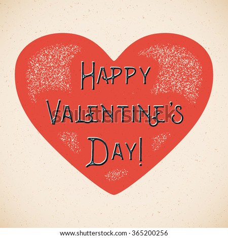 Retro Valentines Day card with heart and shifted colors