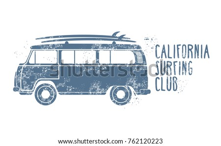 Retro van with surfboards on roof - vintage minibus, summer vacation