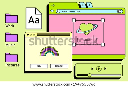 Retro vaporwave desktop with message boxes and user interface elements. A conceptual illustration of website and application programming.