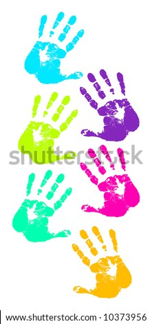 retro vector colorful handprints