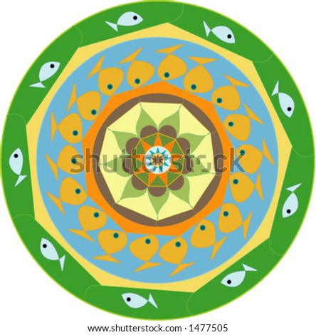 Retro Vector Design In Fish Theme, Can Be Used For Backgrounds,Plates, Menus